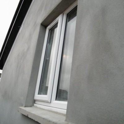 Freshly rendered gable end wall