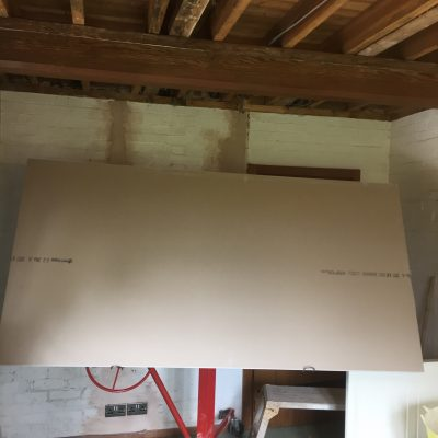 Plasterboard been lifted into position, Five Ashes
