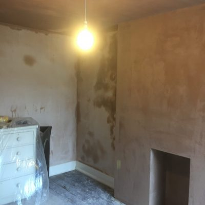 Dot and dab fire place and skimmed