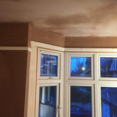 Freshly plastered ceiling ready for decoration